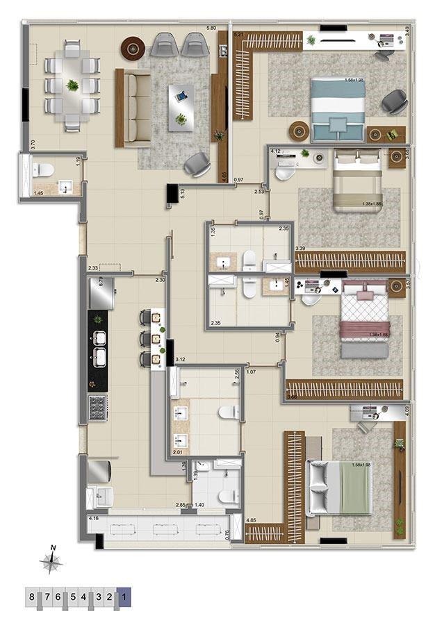 1/1 - Planta - 159,00 m²  - 4 quartos  - 2 suítes  - 2 vagas - Sob Consulta